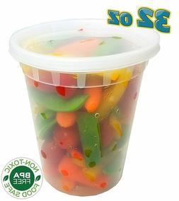 32 oz.  Plastic Freezer Food Storage Deli Soup Container Tub