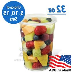 32oz round clear plastic deli food soup