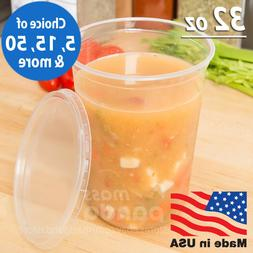 32oz Round Deli Food/Soup Storage Containers w/ Lids Microwa