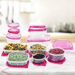 34 Pc Reusable Plastic Food Storage Containers Set with Red