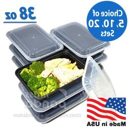 38oz Meal Prep Food Containers with Lids, Reusable Microwava