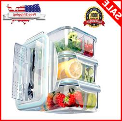 3Pack Glass Meal Prep Containers 3 Compartment, Food Storage