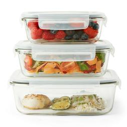 VonShef 3pc Glass Containers Food Storage & 3 Airtight Tuppe