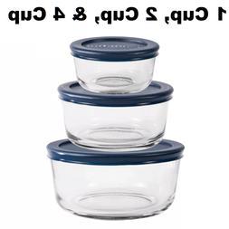 Anchor Hocking 3pc Round Container Food Storage Set with Blu