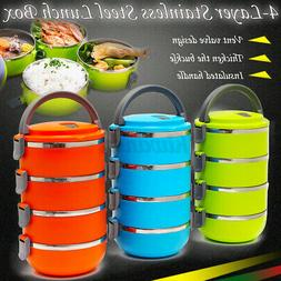 4 Layers Stainless Steel Insulated Lunch Box Bento Food Stor
