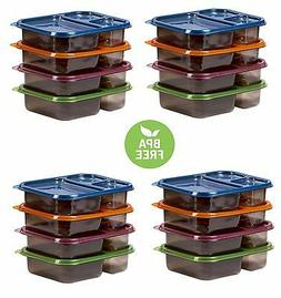 4 Meal Prep Containers 3 Compartment Plastic Bento Food Stor