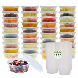 40 Pack 8oz Plastic Food Storage Containers with Lids Microw