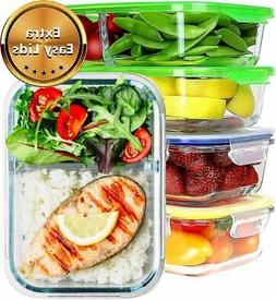 JinaMart  Large 1 and 2 Compartment Glass Meal Prep Containe