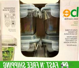 4pk Glass Container 10 oz LOCK LID LEAK-PROOF SEAL THERMAL S