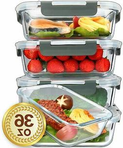 Glass Container for Food Storage with Lifetime Lids, Meal P