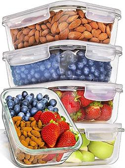 5 Pack 36 Ounce Prep Naturals Glass Meal Prep Containers Foo