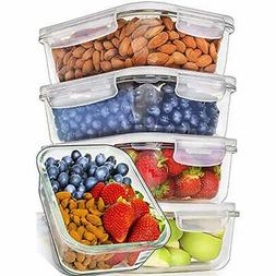 5-Pack, 36oz Glass Meal Prep Containers Food Storage With Li