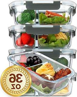 Glass Meal Prep Containers 2 Compartments Portion Control wi