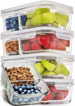 Prep Naturals  Glass Meal Prep Containers Glass 2 Compartmen