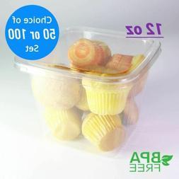 50/100 ct. Clear Square PET Deli Bite-Size Cake Containers F