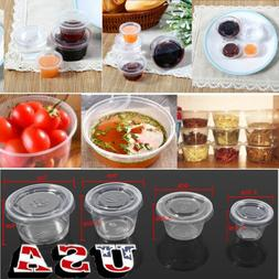 50/100x Kitchen Disposable Plastic Sauce Cup Chutney Cups Bo