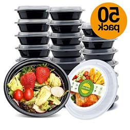 50 Meal Prep Containers 1 Compartment Plastic Food Storage M