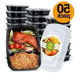 50 Meal Prep Containers Food Storage 2 Compartment Plastic R