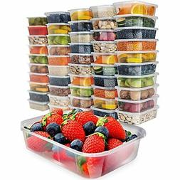 50 Pack, 17oz Food Storage Containers With Lids Plastic Free