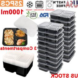 25X 34oz 3 Compartment Meal Prep Food Containers Reusable Fo