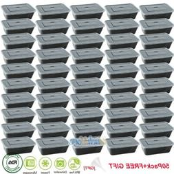 50 Pack Meal Prep Containers Food Storage 1 Compartment Reus