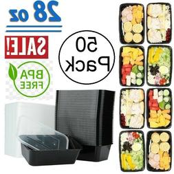 50 Pack Meal Prep Containers Microwave Safe 1 Compartment Re