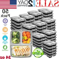 50 Pack Meal Prep Containers Microwave Safe 3 Compartment Re