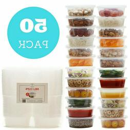 50pack 8oz Plastic Food Storage Containers with Lids- Restau