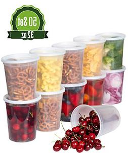 50Sets Deli Plastic Food Storage Containers with Airtight Li