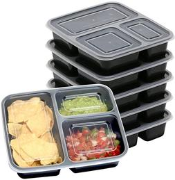 6 Pack - SimpleHouseware 3 Compartment Reusable Food Grade M