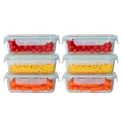6 Pack 35 oz. Glass Meal Prep Food Storage Containers Oven S