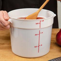 6-Pack Durable White Round Prep Food Kitchen Storage Contain