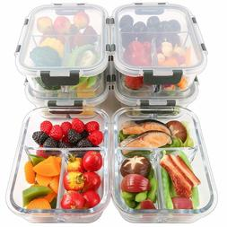 6-Packs Glass Meal Prep Containers 3 Compartment with Lids F