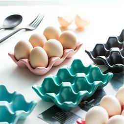 6Grids Ceramic Egg Holder Refrigerator Egg Storage Box Shock