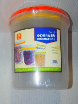 6PC FOOD STORAGE CONTAINERS - AIRTIGHT STORAGE - DURABLE - E