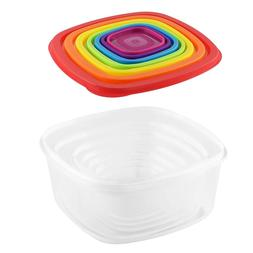 7 Piece Space Saving Rainbow Food Storage Container Set Heav