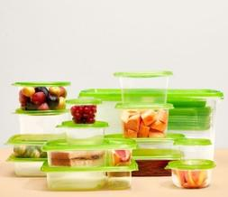 FLEX 76-Piece Food Storage Container Set Green Microwave Fre