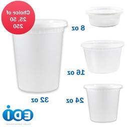 EDI 8oz 16oz 24oz 32oz Round Plastic Deli Food Containers wi
