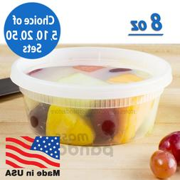 8 oz Heavy Duty Small Round Deli Food/Soup Plastic Container