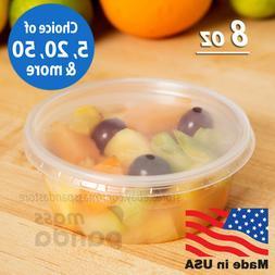 8 oz Round Deli Food/Soup Storage Containers w/ Lids Microwa
