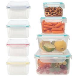 8pc Food Storage Container Set Airtight Lid BPA Free Plastic