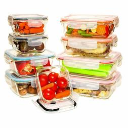 9 Value Pack, Tempered Glass Food Storage Containers w/Locki