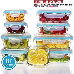 9 Pack - Glass Food Storage Containers with Lids - Glass Mea