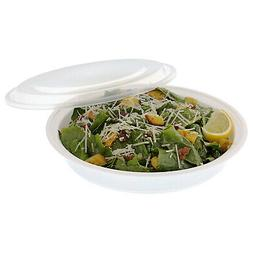"""9"""" Round White 38 oz. Containers with Lids, Pack of 50"""