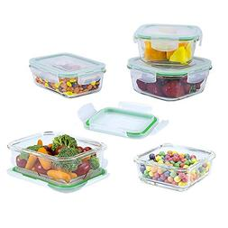 EatNeat 10 Piece Square Glass Food Storage and Meal Prep Con