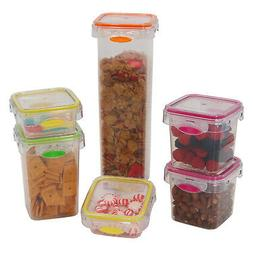 Food Storage 12 Piece Air Tight Set Colorful Plastic Contain