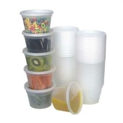Food Storage Containers with Lids, Round Plastic Deli Cups,
