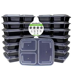 Freshware Meal Prep Containers  3 Compartment with Lids, Foo
