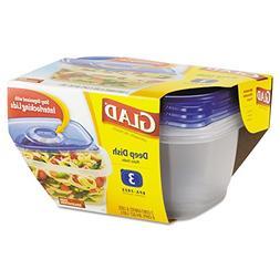 Glad 70045 GladWare Deep Dish Food Storage Containers, 64 oz
