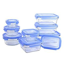GlassLock 11434 18 Piece Oven Safe Assortment Set, Blue